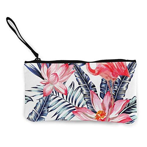 Monedero lona rosa diseño flamencos hojas palma azules