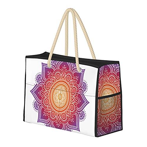 Sac de plage pour femme avec coussin de méditation avec mandala, grand sac de plage, sac de voyage, sac de rangement, sac à bandoulière pour la plage, le voyage, la salle de sport