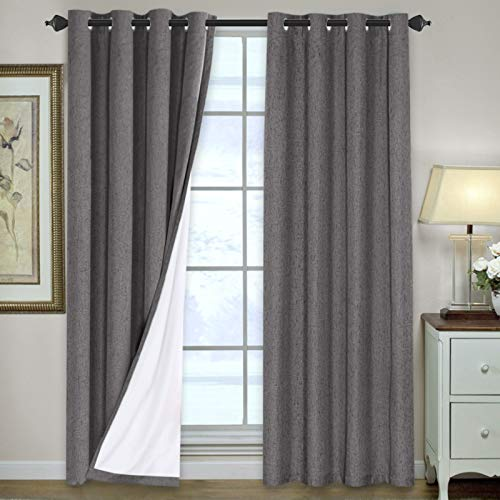 Linen Blackout Curtains 84 Inches Long 100% Total Blackout Heavy-Duty Draperies for Bedroom Living Room Thermal Insulated Textured Functional Window Treatment Anti Rust Grommet (Grey, 2 Panels)