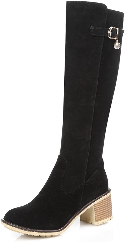 Lucksender Womens Zip Round Toe Chunky Heel Mid Calf Boots