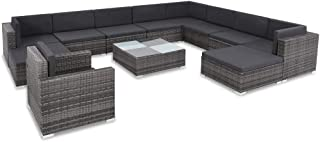 Festnight 12 Piece Outdoor Patio Sofa Conversation Set Gray Poly Rattan Sectional Sofa Loungers with Tempered Glass Top Coffee Table and Soft Cushion Ottoman Garden Backyard Balcony Furniture