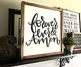 St234tyet Señal de casa de campo, Forever And Ever Amen, regalo de boda, regalo recién casado, parte superior fijador, casa de campo moderna, letrero romántico, letrero de dormitorio principal