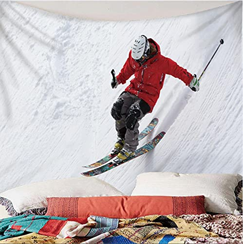 Weibing Tapiz de impresión en Color 3D Estilo Moderno patrón de esquí en la Nieve al Aire Libre decoración del hogar tapices Arte de Pared para Habitaciones 150(An) x150(H) cm