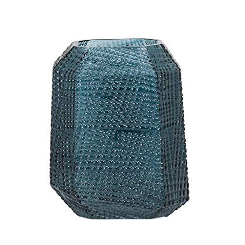 Torre & Tagus Soto Moderne Vase aus geätztem Glas, für getrocknete Blumen, saisonale Blüten im Wohnzimmer, Credenza Sideboard, Esstisch, Arbeitsplatte, 20,3 cm Höhe, Atlantik-Ozeanblau