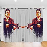 Komorebi12 Scarface Bedroom Blackout Curtains Soft Curtains Insulated Room Bedroom Print Living Room, Living Room Curtains 2 Panels (W52x L72 Inches)