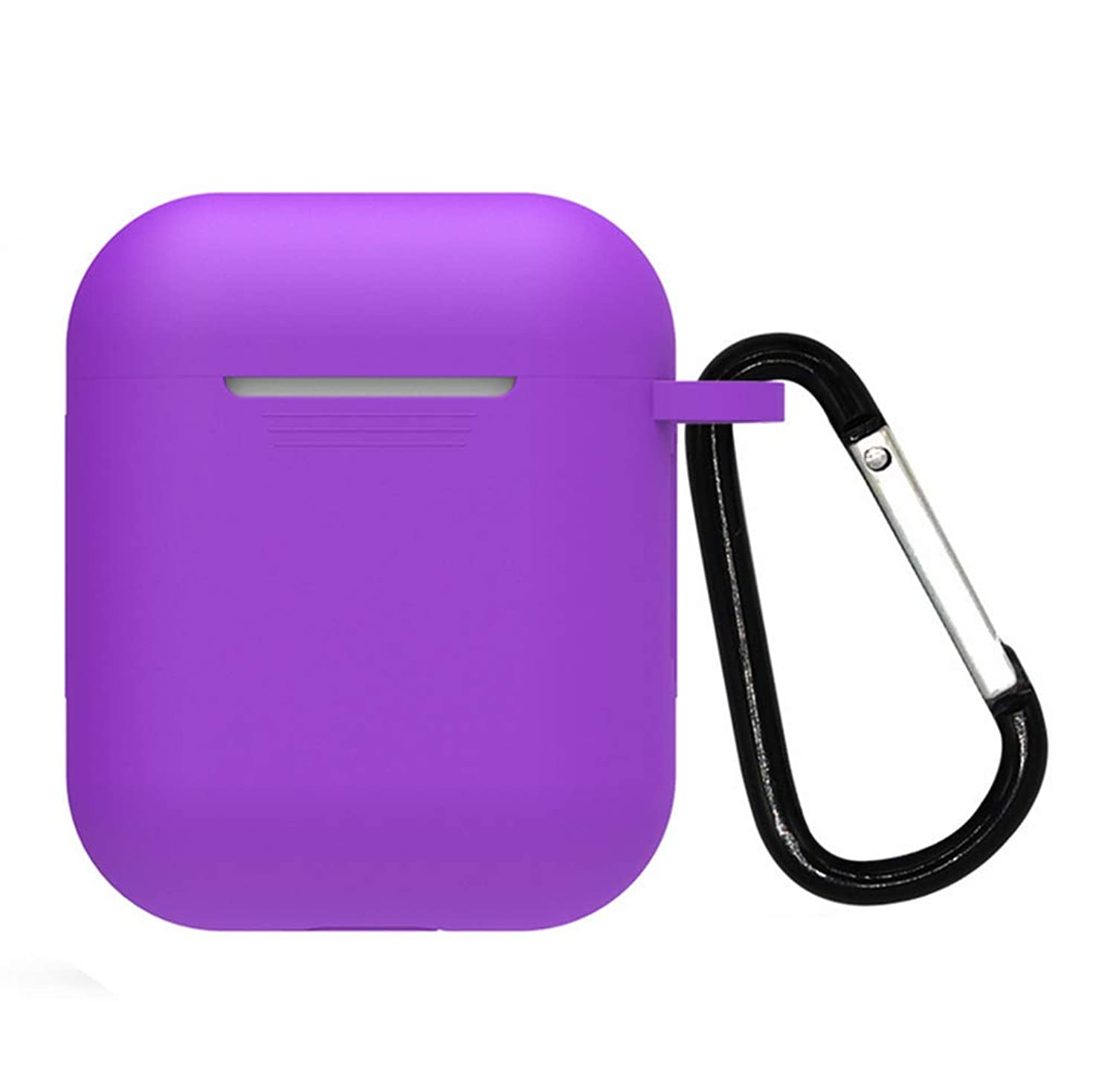 Compatible with Airpods Case,Dtgu Full Protective Silicone Cover Skin with Earhook Keychain for Airpods Charging Case (Purple)