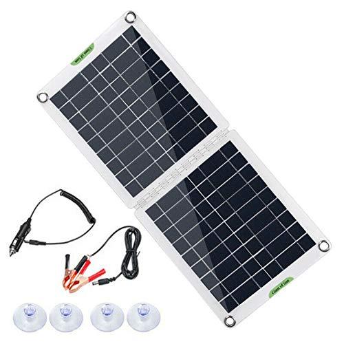 ihreesy Kit Panel Solar Plegable 60 W, 6/12 / 18 V,Controlador de Carga Solar Prueba de Agua Cargador Doble Puerto USB Paneles Solares Policristalinos Batería para Remolques de Automóviles Barcos