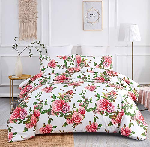 DaDa Bedding Romantic Roses Duvet Cover Set- Lovely Floral Spring Pink w/Pillow Cases - Bright Vibrant Multi-Colorful Blooming Flowers - Very Soft Comforter Cover w/Corner Ties - Queen - 3-Pieces