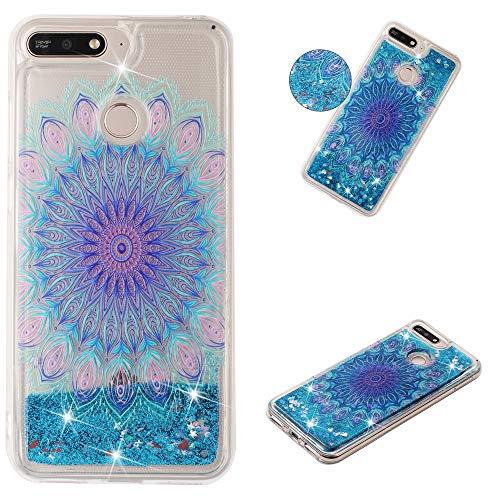 Miagon Flüssig Hülle für Huawei Y6 2018,Glitzer Weich Treibsand Handyhülle Glitter Quicksand Silikon TPU Bumper Schutzhülle Case Cover-Blau Totem Blume