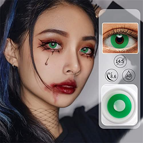 Gesundheit Color Contacts for Eyes Cosplay Party Costume,Color Cont-act for Eyes,, Halloween Party,Christmas,Party Favors,Party Supplies,Birthday Party (Green)