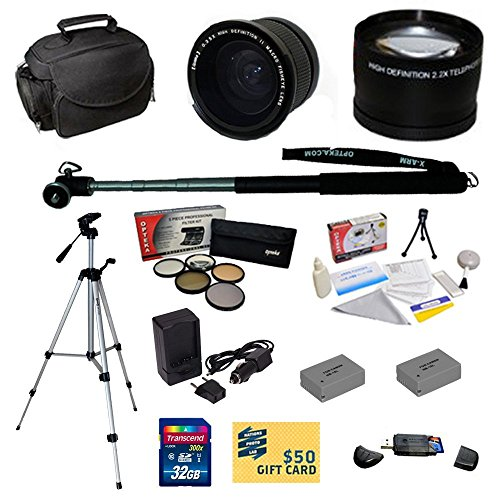 "47th Street Photo Best Value Pro Shooter Accessory Kit for Canon Powershot G15, G16, G1 X Digital Camera Includes: Opteka 0.35x Wide Angle Lens + 2.2x Extreme High Definition AF Telephoto Lens + Professional 5 Piece Filter Kit (UV, CPL, FL, ND4 and 10x Macro Lens) + 2 Extended Replacement NB-10L Battery + AC/DC Travel Charger + Self Portrait Monopod + 54"" Compact Professional Photo / Video Tripod + Mini tripod + 32GB Transcend High Speed Error Free SDHC Memory Card + USB 2.0 Card Reader + Deluxe"