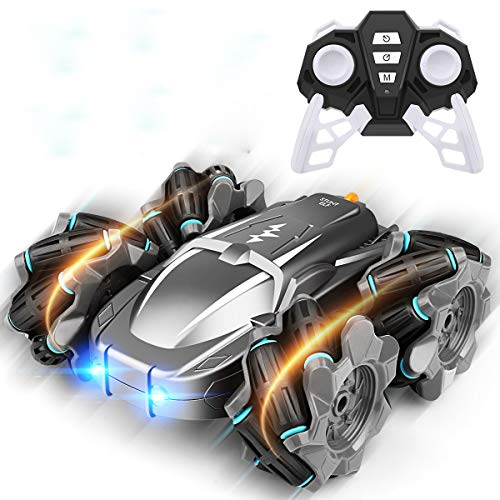 Remote Control Car,360° Rotation Drift Stunt ELF,Rechargeable Vehicle with Cool Lights,High Speed,Flexible Steering,Anti-Interference 4WD RC Car with One-Click Demo (Black)