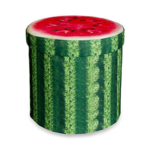 Relaxdays Tabouret rond pliant coffre de rangement pliable pouf siège chaise avec couvercle capacité de stockage 30 L motifs fruits 38 x 38,5 x 38,5 cm, pastèque