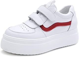 Women's Fashion Velcro Sneakers Elegant Platform Low Cut Shoes Breathable Casual Skateboard Shoes (Color : White, Size : 35)