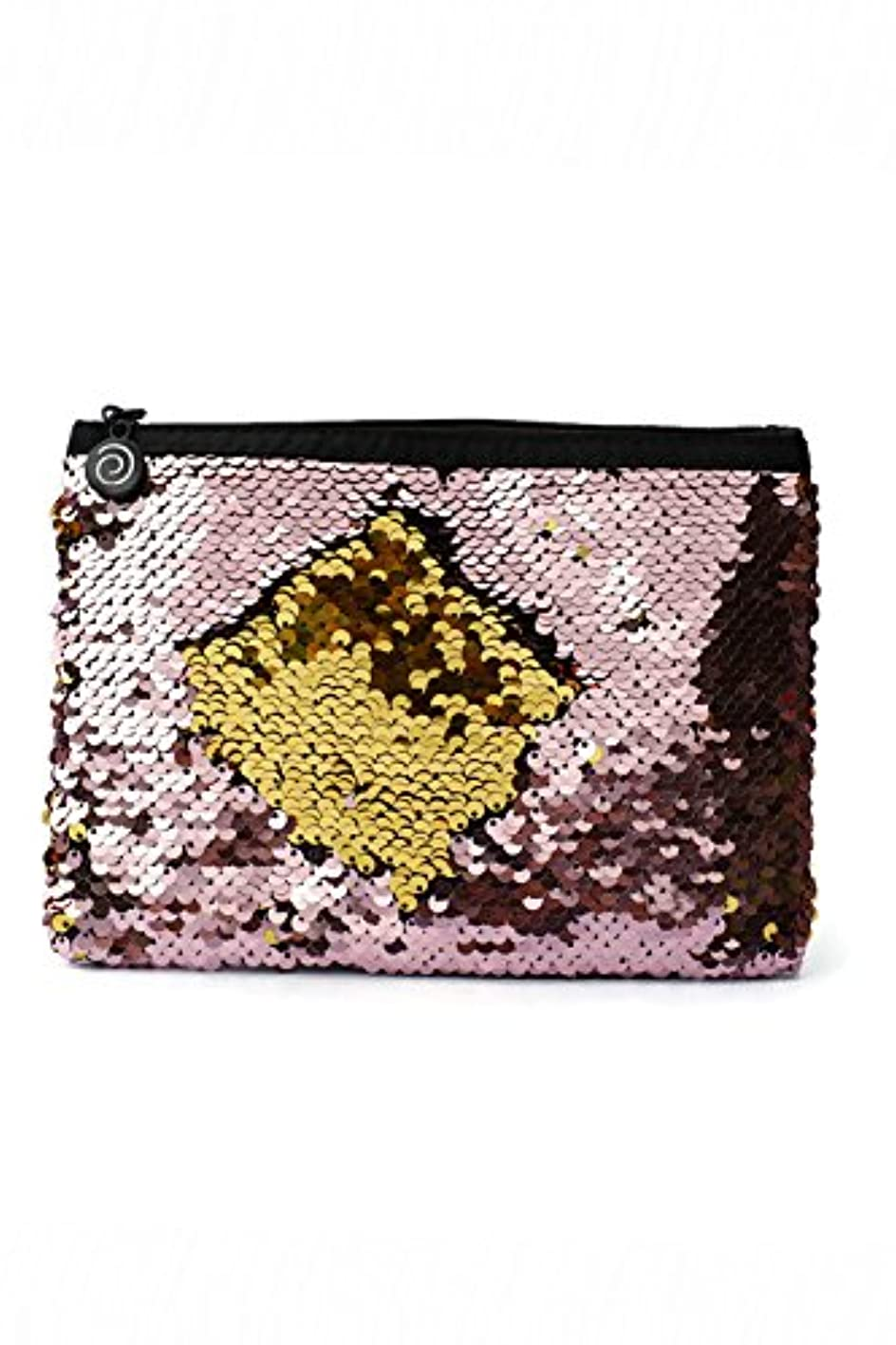 Little Monkey Magic Sequins Mermaid Large Pouch, Makeup Bag, Pencil Bag - Soft Pink & Gold sqzwvqxlupg514