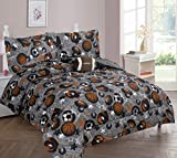 GorgeousHomeLinen Adorable Designs Kids Teens Twin Bed in a Bag Bedding Comforter and Matching Sheet Set and Decorative Pillow All New (Football, Twin)