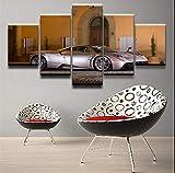 wmyzfs Fotos de Lienzo sin Marco Sala de Estar decoración para el hogar Impresiones HD Cartel 5 Piezas Champagne Color Pinturas del Coche del Arte de la Pared