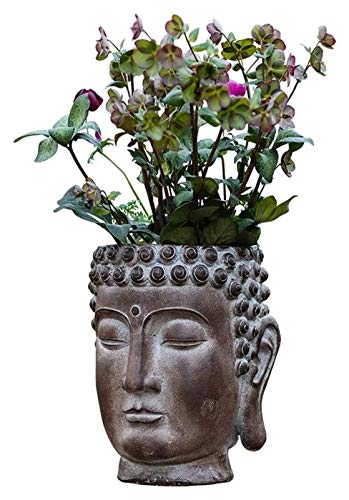 WQQLQX Statue Buddha Kopf Blume Skulptur, Garten Buddha Büste Statue Sukkulente Topfkunst Kreative Blumentopf Outdoor Decoration Kunstanzeige Skulpturen