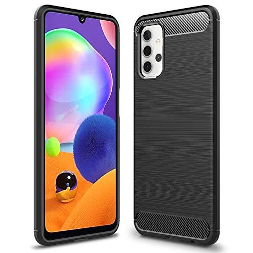 NALIA Design Case Compatible con Samsung Galaxy A32 5G Funda, Mirada de Carbono Delgado Carcasa Protectora Silicona con Fibra de Carbono Textura, Slim Antichoque Cover Estuche Shock-Absorción - Negro