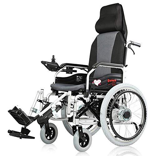 DLY Älterer Untauglicher Elektrischer Rollstuhl, Der Leichte Gehhilfen mit Prüfer und Fußstützen für Untaugliche und Ältere Mobilität Faltet