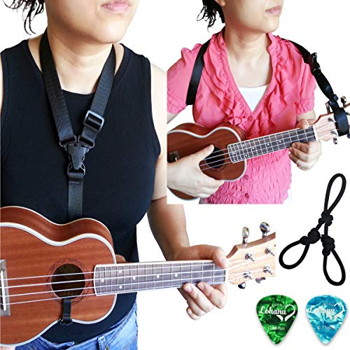 Clip On Ukulele Strap Black Color Adjustable In Various Length From Lohanu Ukulele Hook & Clips On Requires No Drilling Easy To Use Fits Any Uke Sizes Helps You Play Better & Easier!