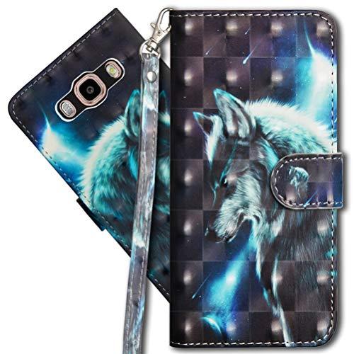 MRSTER J2 Prime Handytasche, Leder Schutzhülle Brieftasche Hülle Flip Hülle 3D Muster Cover mit Kartenfach Magnet Tasche Handyhüllen für Samsung Galaxy Grand Prime G530. YX 3D - Wolf