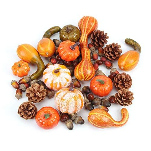 50PCS Halloween Deko Künstliche Kürbisse Simulation Kürbisse Beeren Ahornblätter DIY Herbst Zierkürbis Thanksgiving Dekorationen Set