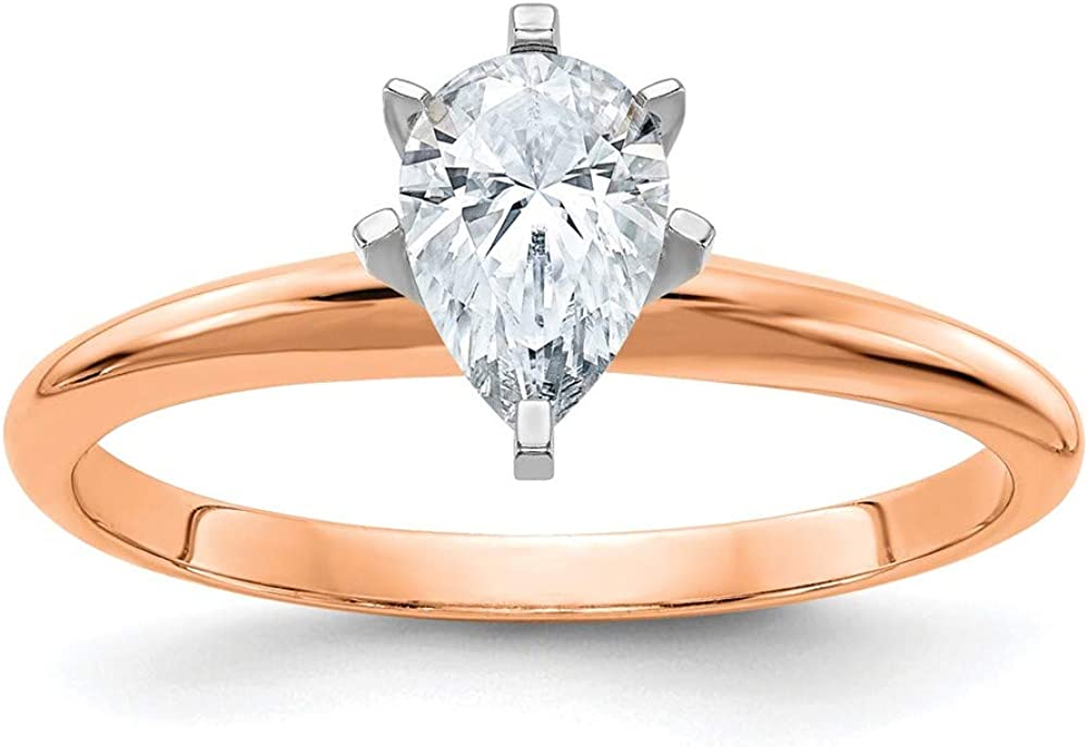 14k Rose Gold 1ct. 8x5mm D E F Pure Pear Moissanite Solitaire Band Ring Engagement Gsh Gshx Fine Jewelry For Women Gifts For Her
