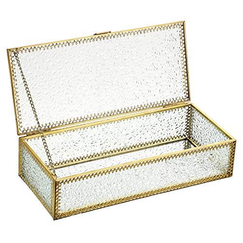 BSTKEY Caja de almacenamiento de escritorio de cristal con borde floral dorado, diseño de diamantes