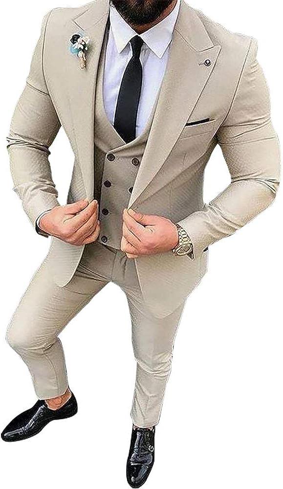 Mens 3 Pieces Tailored Wedding Tuxedo Gents Slim Fit Suit Blazer Vest Tapered Pant