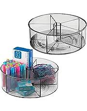 mDesign - Draaiplateau - carrousel/kantoororganizer - voor kantoor en thuis - voor schrijfgerei - met 5 compartimenten