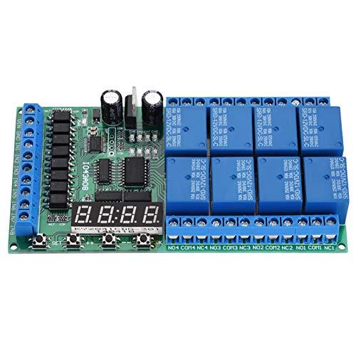 Interruptor de relé de temporización Placa de relé de retardo digital de 8 canales y 6 funciones DC 12V para aplicaciones de control de energía