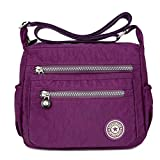 XUEREY Womens Small Handbag Nylon Shoulder Bag Casual Day Pack Multi-Pocket Casual Waterproof Nylon Bags Travel School Bag Laptop Backpack