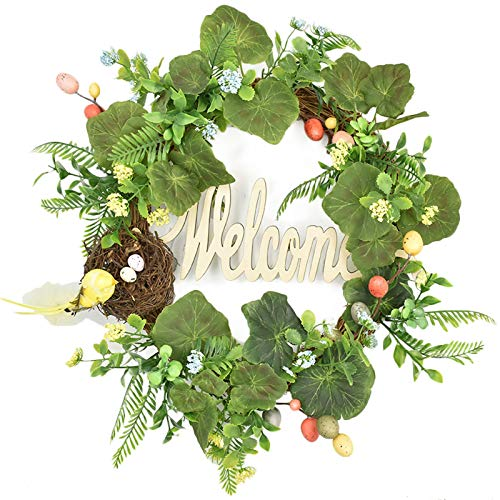 æ— Easter Egg Wreath, 17.7 Inch Vintage Easter Wreath with Colorful Eggs and Bird Nest, Artificial Green Leaves Wreath Welcome Sign for Front Door Wall Spring Summer Decor
