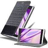 Cadorabo Hülle für Sony Xperia L1 in GRAU SCHWARZ - Handyhülle mit Magnetverschluss, Standfunktion & Kartenfach - Hülle Cover Schutzhülle Etui Tasche Book Klapp Style