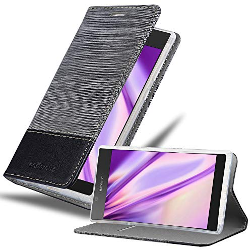Cadorabo Hülle für Sony Xperia L1 - Hülle in GRAU SCHWARZ – Handyhülle mit Standfunktion & Kartenfach im Stoff Design - Hülle Cover Schutzhülle Etui Tasche Book