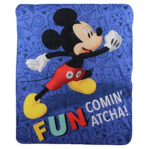 "Mickey Mouse ""Fun"" Kids Character lightweight Fleece Throw Blanket"