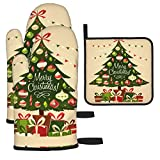 Christmas Tree with Gifts Oven Mitts and Potholders BBQ Gloves-Oven Mitts and Pot Holders with Recycled Cotton Non-Slip Cooking Gloves for Cooking Grilling 2Gloves and 1Pot Holder(3pcs)