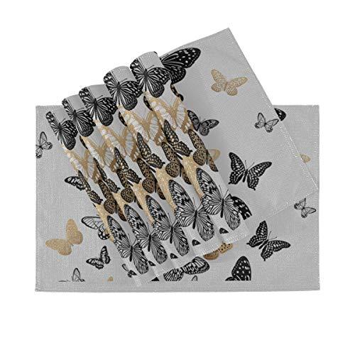 Juego de 6 manteles individuales, manteles individuales lavables con aislamiento térmico, mariposas negras doradas sobre blanco, 18 x 12 pulgadas, manteles individuales de cocina para mesa de comedor