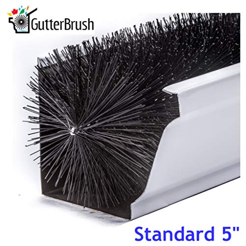 GutterBrush Simple Gutter Guard | for Standard 5' Gutters | Easy, No Tools DIY Gutter Leaf Guard (60...