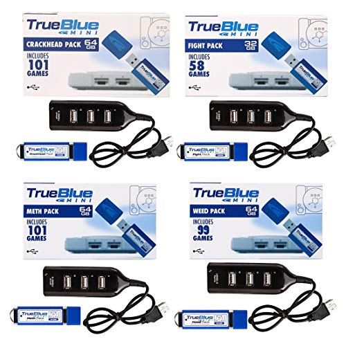Spieland 4Pack True Blue Mini USB Stick: Crackhead Pack, Meth Pack, Fight Pack, Weed Pack für Playstation Classic mit 359Spiele