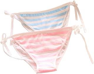 Cute Side Tie Striped Panties, 2pcs Cotton Bikini Underwear Lolita Thong