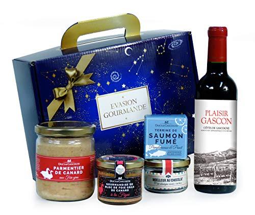 """Ducs de Gascogne - Coffret gourmand """"Évasion Gourmande"""" - comprend 5 produits dont un bloc de foie gras et un vin rouge - spécial cadeau (901364)"""