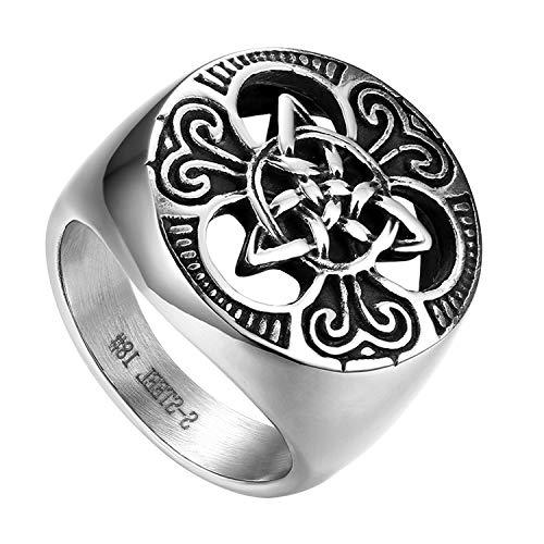 Flongo Anillo de Compromiso para Hombre, Anillo de Sello Grande Celta celtico Anillo de Nudo irlandés, Amuleto Anillo de Acero Inoxidable, Talla 14