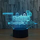 LED Bluetooth Luz de noche junto a la cama Locomotora Tren antiguo 3D Lámpara de ilusión visual Acrílico Led Luz de noche 3D 7 Cambio de color Touch Table Bulbing Lamp