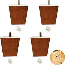 Yubingqin Set van 4 houten meubels bankpoten, massief houten tv-kast voeten, dennen trapezium thee tafel poten, vervangend...
