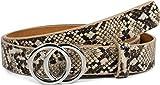 styleBREAKER cinturón de mujer con motivo de serpiente y hebilla de anillo, cinturón para la cadera, cinturón para la cintura 03010094, tamaño:90cm, color:Marrón-Beige