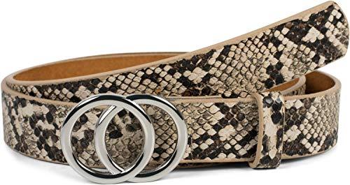 styleBREAKER Damen Gürtel mit Schlangen Muster und Ringschnalle, Hüftgürtel, Taillengürtel 03010094, Farbe:Braun-Beige, Größe:85cm