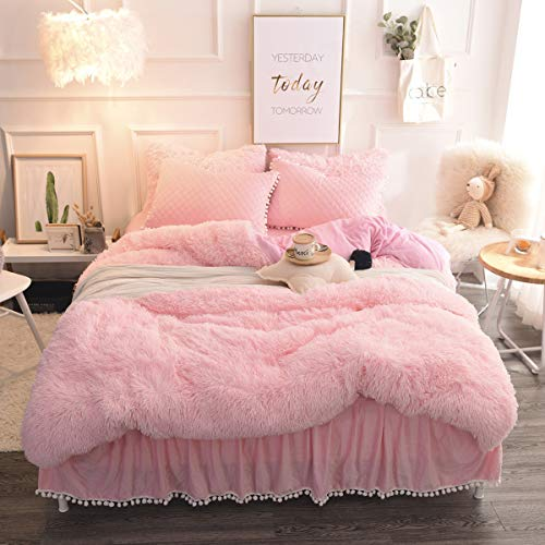jennifer lopez egyptian cotton sheets Pink Plush Shaggy Duvet Cover Queen 3 Pieces Luxury Ultra Soft Fluffy Crystal Velvet Bedding Comforter Cover with Zipper Closure (1 Faux Fur Duvet Cover + 2 Pillow Shams) 90x90 inches