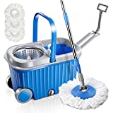 Microfiber Spin Mop and Bucket Set with 3 Microfiber Mop Heads and Two